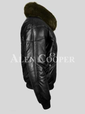 Real leather v bomber black jacket for men with Olive fur olive side