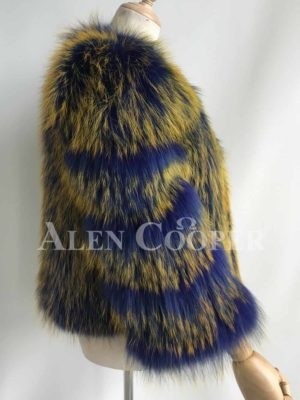 Real raccoon fur Eskimo styled winter vest for women side view