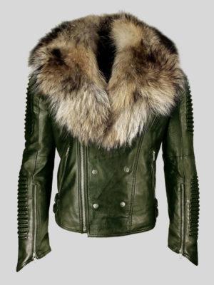 Real raccoon fur collar asymmetrical zipper closure real leather jacket