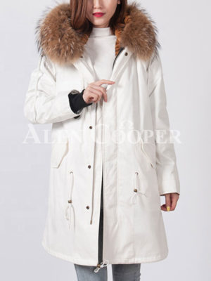Real raccoon fur hooded and fur lined long winter parka for women