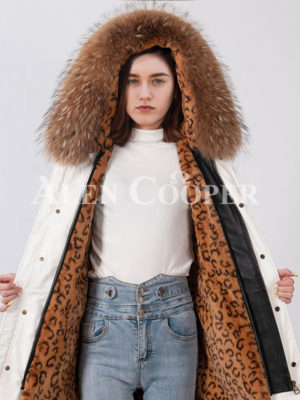Real raccoon fur hooded and fur lined long winter parka for women's