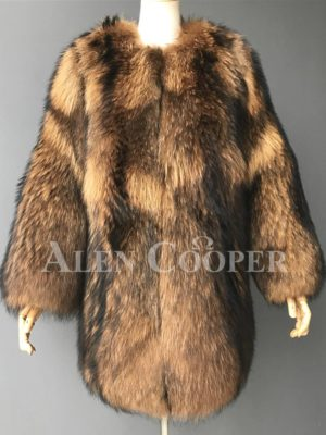 Stylish n floppy real raccoon fur winter outerwear for women