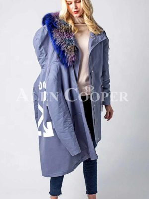 Super stylish windproof winter parka with 3 kinds of raccoon