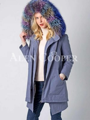 Super stylish windproof winter parka with 3 kinds of raccoon fur