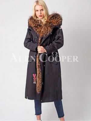 Super warm winter parka with luxury raccoon fur collar hood for women's