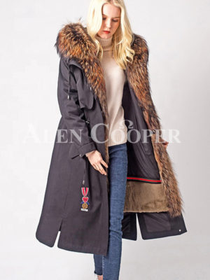 Super warm women winter parka with luxury raccoon fur collar hood