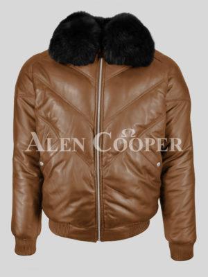 Tan color leather v bomber jacket for men with black fur collar black