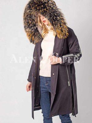 Trendy fur hooded warm winter femme parka jacket side view
