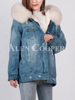Unique durable denim parka with fox fur hood for women blue