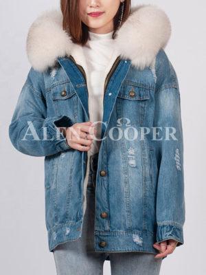 Unique durable denim parka with fox fur hood for women's blue