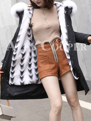 Warm shell fur hood down parka with proper fur lining for Women's