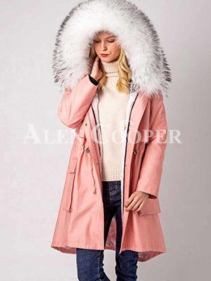 Warm winter windproof fashionable parka with fur hood