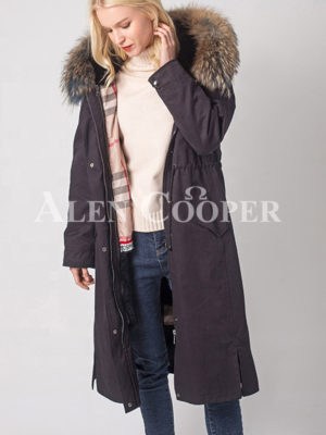 Women's breathable and comfortable real fur hooded winter parka light navy