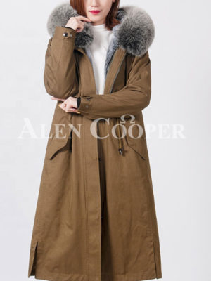 Women's exciting luxury long warm winter parka with fur hood support