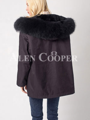 Women's fashionable and windproof super warm winter parka back side view