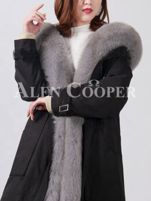 Women's fashionable real fox fur collar-hood warm winter parka