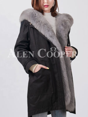 Women's fashionable real fox fur collar-hood warm winter parka in gray fur side view