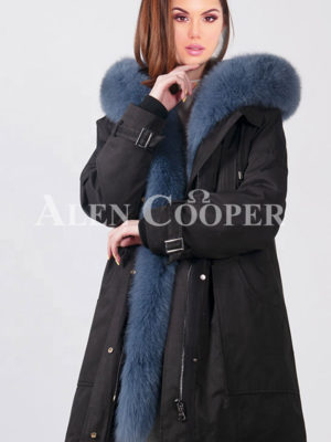 Women's fluffy real fur collar-hood warm winter parka