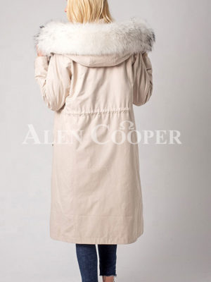 Women's fur hooded polyester cotton warm winter parka back side view