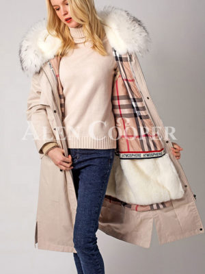 Women's fur hooded polyester cotton warm winter parka light pink