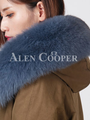 Women's fur lined fur hooded real warm long winter parka close view
