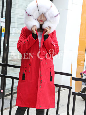Women's genuine raccoon fur hood incredible warm winter parka Red