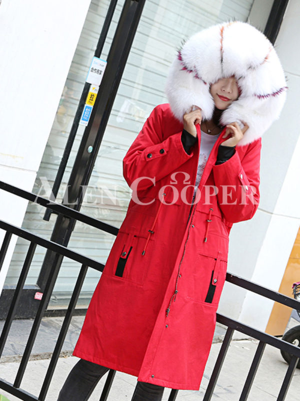 Women's long and casual wind proof and water proof winter parka Red