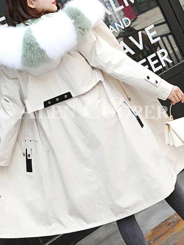 Women's long and casual wind proof and water proof winter parka White