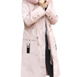 Women's long and casual wind proof and water proof winter parka in pink