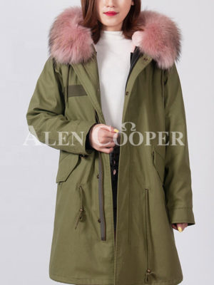 Women's long and luxury real fur hooded unique winter parka
