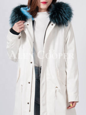 Women's long and luxury real fur hooded warm winter parka