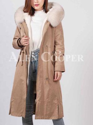 Women's long windproof warm winter parka with real fur hood