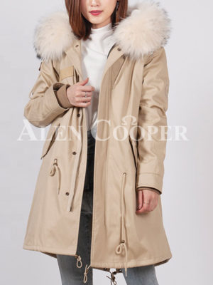Women's loose raccoon fur hood rabbit fur lining winter parka