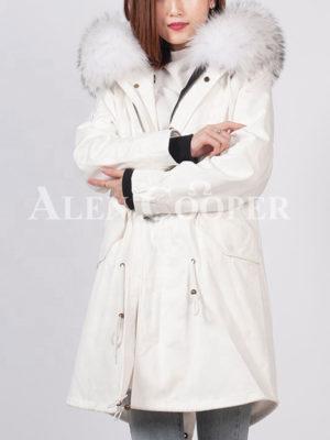 Women's loose raccoon fur hood rabbit fur lining winter parka White