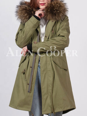 Women's loose raccoon fur hood rabbit fur lining winter parka green