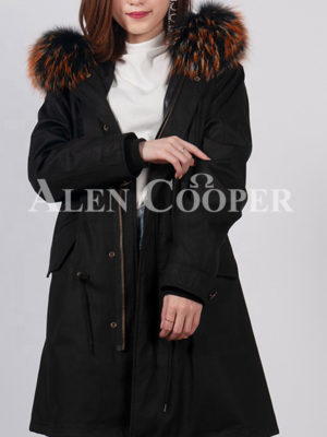 Women's loose raccoon fur hood rabbit fur lining winter parka in black