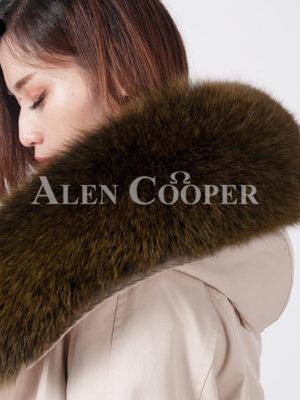 Women's real fox fur hooded warm winter long parka close view