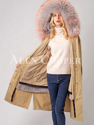 Women's real rabbit fur linen and hooded winter parka