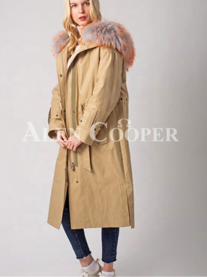 Women's real rabbit fur linen and hooded winter parka side view