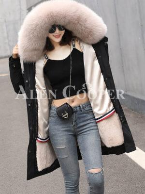Women's real voluminous fur hooded long winter parka