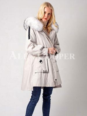 Women's stylish winter parka with rabbit fur inner linen and hood white