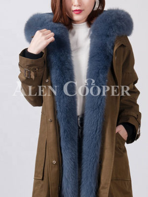 Women's trendy casual and long warm winter parka with fur hood-collar