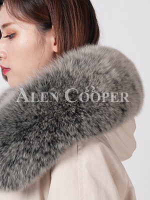 Women's waterproof real fur hooded long and stylish parka close view
