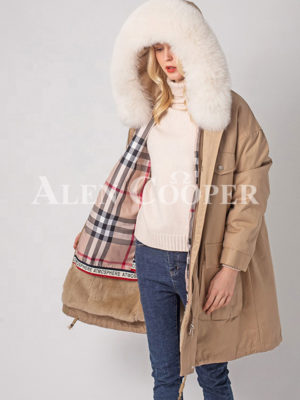 Women's windproof real fur hooded casual winter parka