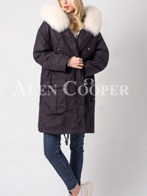 Women's windproof real fur hooded casual winter parka navy