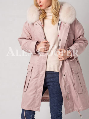 Women's windproof real fur hooded casual winter parka pink