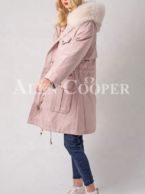 Women's windproof real fur hooded casual winter parka side view