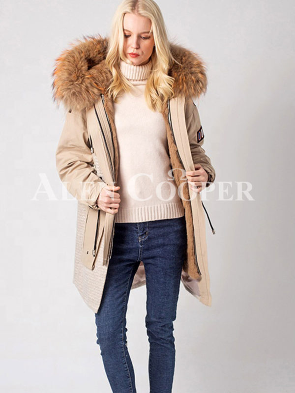 Women Long luxurious warm winter fur hood parka