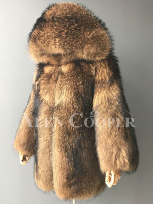 Women Real raccoon fur winter outerwear with stylish hood