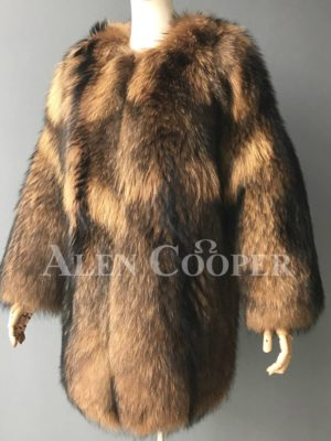 Women Stylish n floppy real raccoon fur winter outerwear